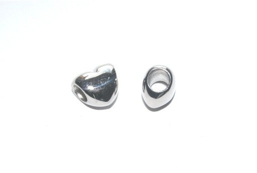Large Hole Stainless Steel Heart 10x11mm -1pcs