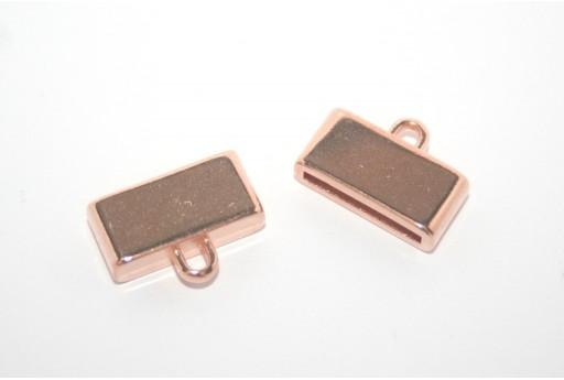 Chiusura Tappo con Asola per Corda Piatta Oro Rosa 15mm - 1pz