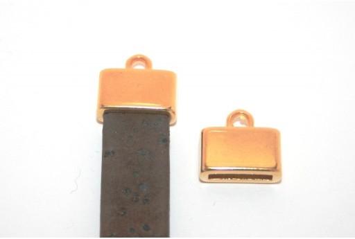 Chiusura Tappo con Asola per Corda Piatta Oro 13x8mm - 2pz