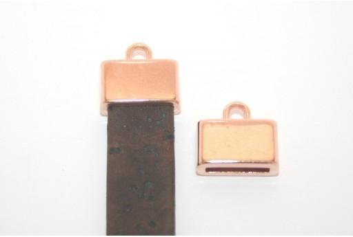 Chiusura Tappo con Asola per Corda Piatta Oro Rosa 13x8mm - 2pz