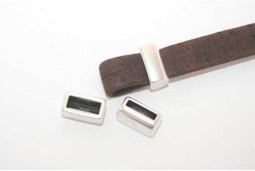 Componente Metallo Zama Corda Piatta Argento 8x13mm - 2pz