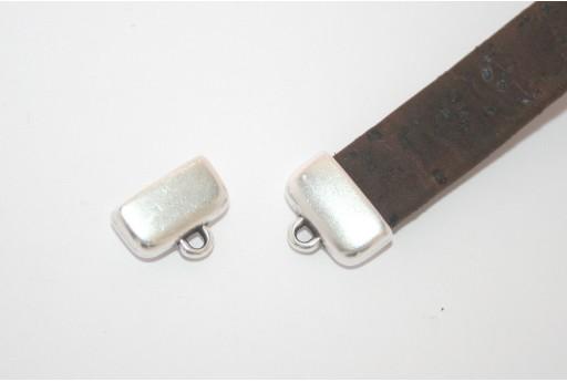 Chiusura Tappo con Asola per Corda Piatta Argento 13x7,8mm - 2pz