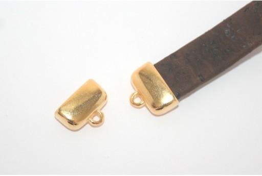 Chiusura Tappo con Asola per Corda Piatta Oro 13x7,8mm - 2pz