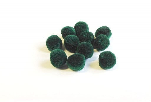 Pon Pon in Poliestere Verde 15mm - 10pz