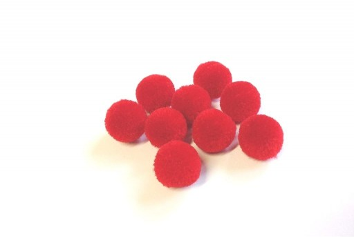 PomPon Polyester Light Red 15mm - 10pcs