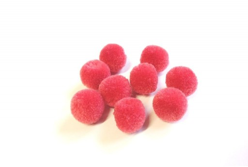 Pon Pon in Poliestere Fragola 15mm - 10pz