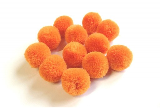 PomPon Polyester Orange 15mm - 10pcs