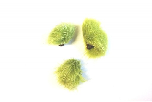 PomPon Fur Whit Ring Green 25mm - 2pcs
