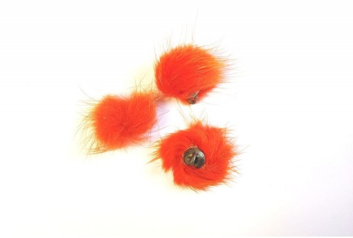 PomPon Fur Whit Ring Orange 25mm - 2pcs