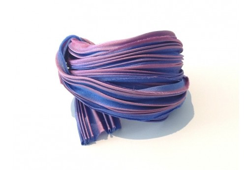 Seta Shibori Ribbon Purple Passion Borealis - 10cm