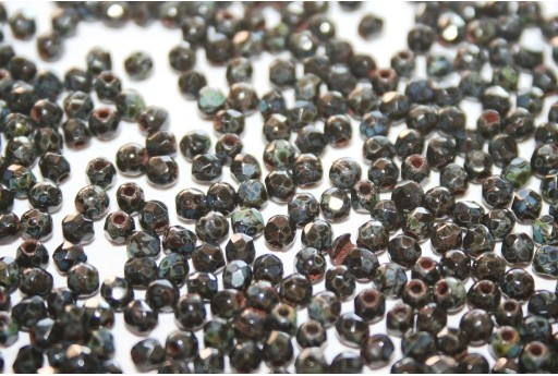 Fire Polished Beads Jet Picasso 2mm - 80pz