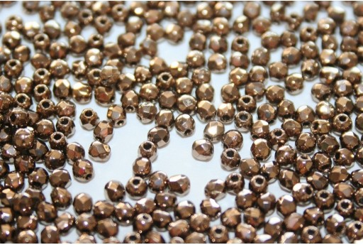 Fire Polished Beads Bronze 2mm - 80pz