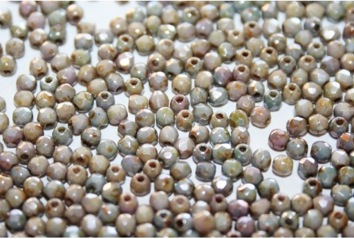Fire Polished Beads Luster Marble Green 2mm - 80pz