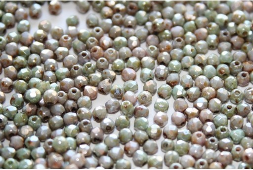 Fire Polished Beads Opaque Ultra Luster Green 2mm - 80pz