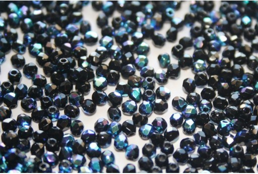 Fire Polished Beads Jet AB 2mm - 80pz
