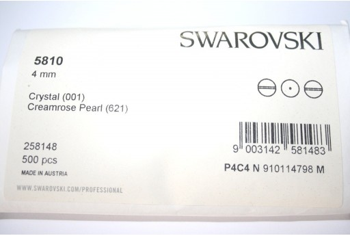 Swarovski Elements Pearls 5810 Creamrose 4mm - Pack 500pcs