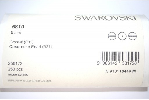 Swarovski Pearls 5810 Creamrose 8mm - Pack 250pcs