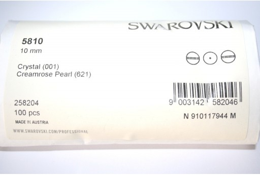 Swarovski Pearls 5810 Creamrose 10mm - Pack 100pcs