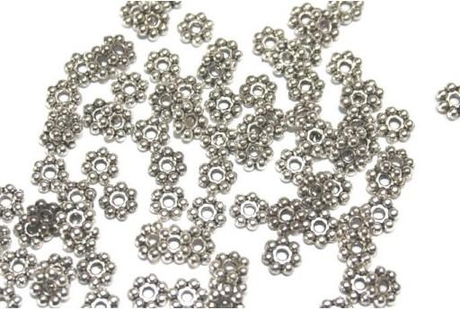 Antique Silver Tibetan Spacer Beads 6x1,8mm - 40pcs