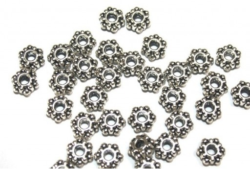 Antique Silver Tibetan Spacer Beads 7mm - 24pcs