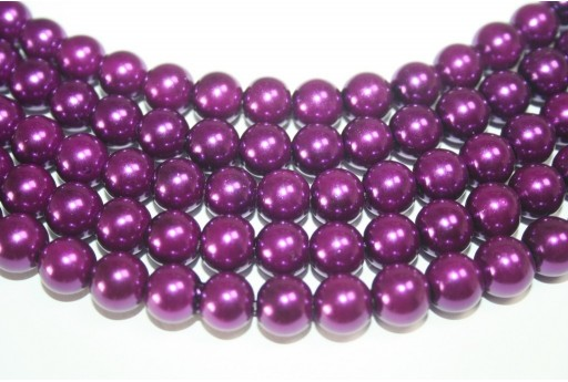 Glass Beads Dark Purple 10mm - 44pcs