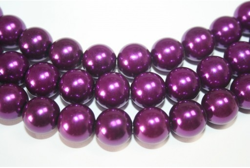 Glass Beads Round Dark Purple 14mm - 30pcs