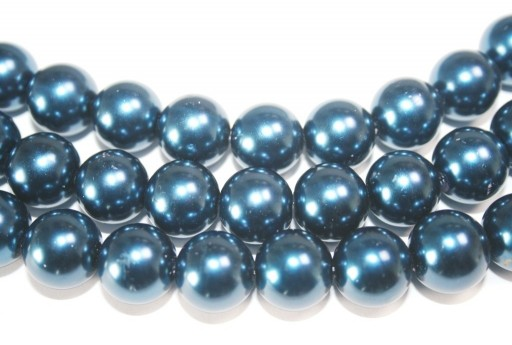 Glass Beads Round Blue 14mm - 30pcs