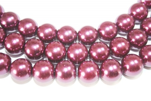 Glass Beads Round Med Purple 14mm - 30pcs
