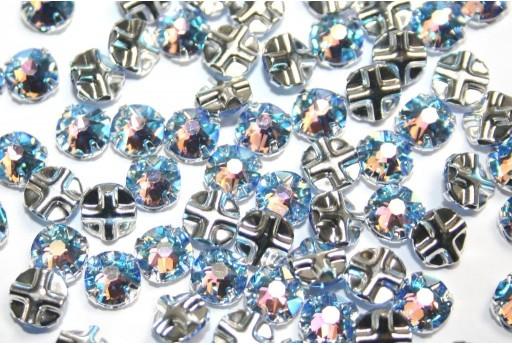 Swarovski Roses Montees 53103 Light Sapphire Shimmer SS30 - 6pcs