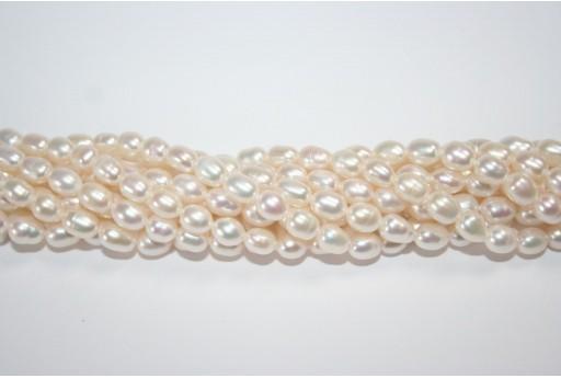 Perle d'Acqua Dolce Chicchi di Riso Bianche 5-6mm - 10pz