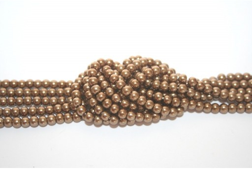 Glass Pearls Strand Light Brown 4mm - 105pcs