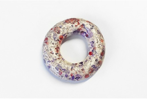 Donut Pendant Ceramic Purple 49mm  - 1pcs