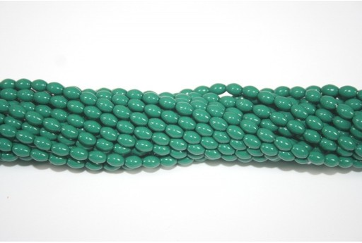 Czech Glass Pearl Beads Green Jade Rice 6x4mm - 50pcs
