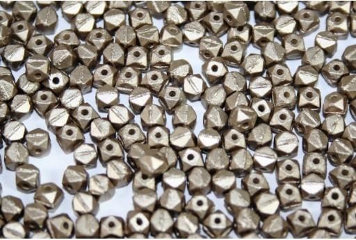 Czech Glass Vintage Cut Nugget Beads Metallic Velvet Light Brown 4mm - 50pcs