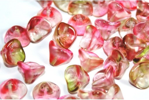 Czech Glass Trumpet Flower Bead Crystal Topaz Pink 12x10mm - 10pcs