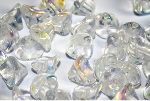 Czech Glass Trumpet Flower Bead Crystal AB 12x10mm - 10pcs