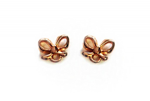 Rose Gold Earring Bow 7,50x9,00mm - 2pcs
