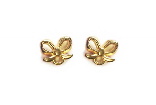 Gold Earring Bow 7,50x9,00mm - 2pcs