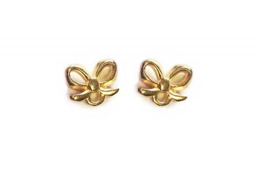 Gold Earring Bow 7,50x9,00mm - 2pcs