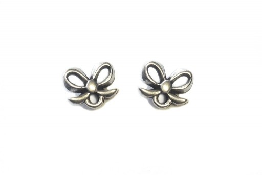 Silver Earring Bow 7,50x9,00mm - 2pcs