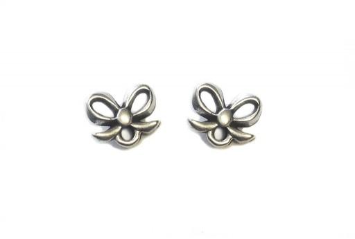 Silver Earring Bow 7,50x9,00mm - 2pcs
