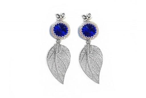 Silver Earrings Kit Leaf