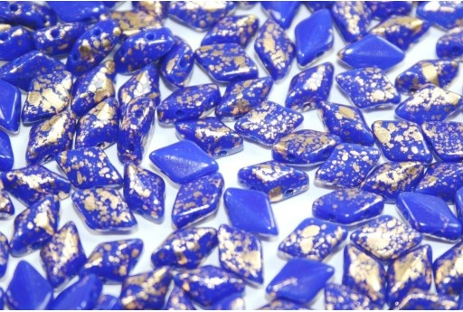 Perline GemDuo Matubo Gold Splash Opaque Blue 8x5mm - 10gr