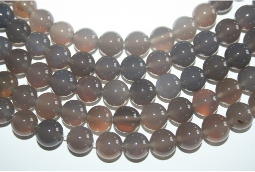 Agate Beads Grey Sphere 12mm - 32pz