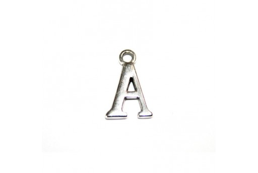 Antique Silver Plated Alphabet Charm Letter A 12mm - 2pcs