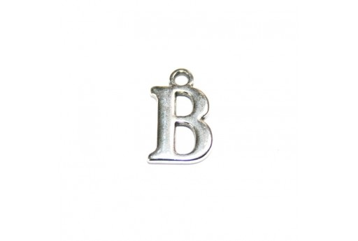 Antique Silver Plated Alphabet Charm Letter B 12mm - 2pcs