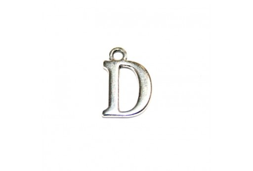 Antique Silver Plated Alphabet Charm Letter D 12mm - 2pcs