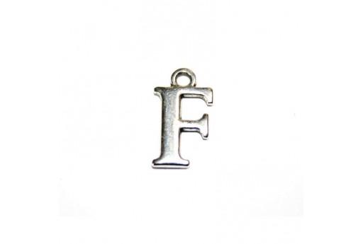 Antique Silver Plated Alphabet Charm Letter F 12mm - 2pcs