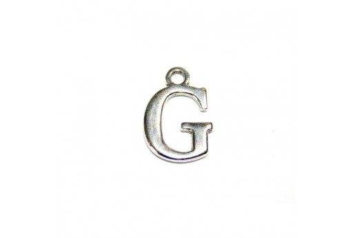Antique Silver Plated Alphabet Charm Letter G 12mm - 2pcs