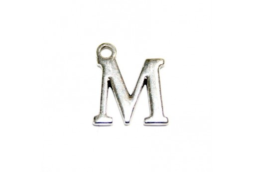 Antique Silver Plated Alphabet Charm Letter M 12mm - 2pcs